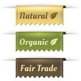 Stylish Tag Labels for Natural, Organic, FairTrade stock illustration