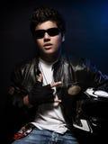 Stylish teen biker Royalty Free Stock Photo
