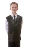 Stylish teen boy in a vest and tie, close-up stock image