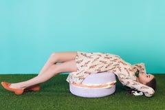stylish teen girl lying stock image