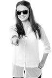 Stylish teen girl wearing goggles, indicating forward Stock Photography