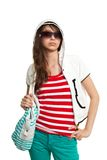Stylish teenage girl with backpack Royalty Free Stock Photo