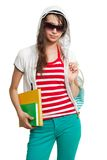 Stylish teenage girl with books Royalty Free Stock Photos
