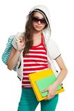 Stylish teenage girl with books Royalty Free Stock Image
