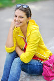 Stylish teenager in colorful clothes outdoor Royalty Free Stock Photo