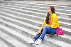 Stylish teenager girl portrait Stock Photos