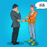 Stylish Teenager Talking with his Father. Pop Art illustration Royalty Free Stock Image