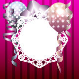 Stylish template for invitation, birthday card with white frame. And balloons Stock Image