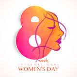 Stylish Text 8 March With Girl Face For Women S Day. Stock Photography