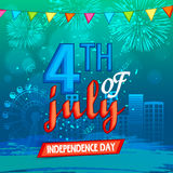 Stylish text for American Independence Day celebration. American Independence Day celebration with stylish text 4th of July on shiny firecrackers decorated city Royalty Free Illustration