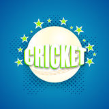 Stylish text with ball for Cricket. Stylish text Cricket with white ball on stars decorated blue background Stock Images