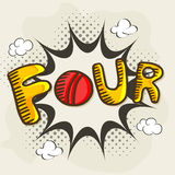 Stylish text for Cricket. Stylish text Four for shot on pop art explosion for Cricket Royalty Free Stock Photography