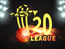 Stylish text for Cricket League concept. Stylish text Twenty 20 League with illustration of fiery ball hit the wicket stumps on stadium lights background for Royalty Free Stock Photography