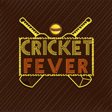 Stylish text for Cricket sports concept. Stylish text Cricket Fever with bats and ball on brown background, can be used as poster or banner design Royalty Free Stock Photos