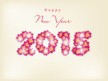 Stylish text design of Happy New Year 2015. Stylish 2015 text made by pink shiny flowers for Happy New Year celebration on beige background Royalty Free Stock Photos