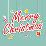 Stylish text design with objects for Merry Christmas celebraiton Royalty Free Stock Images
