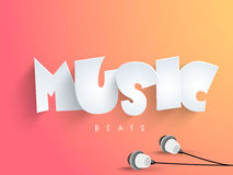 Stylish text with earphone. Stock Images