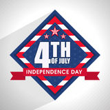 Stylish text in frame for 4th of July. Royalty Free Stock Images