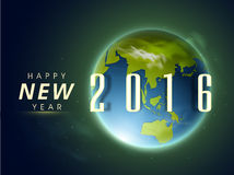 Stylish text 2016 with globe for New Year. Stock Photos