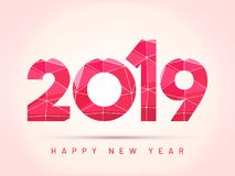 Stylish text of 2019 on glossy pink background for Happy New Yea