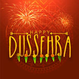 Stylish text for Happy Dussehra celebration. Stylish text Happy Dussehra on shiny firecrackers and floral design decorated background, can be used as poster Stock Photos