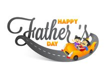 Stylish text Happy Father`s Day with father and son duo riding a. Car on white background vector illustration