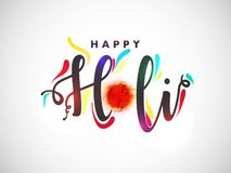 Stylish text Happy Holi with bowl full of dry colours on white background. Stylish text Happy Holi with bowl full of dry colours on white background can be used royalty free illustration