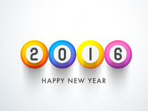 Stylish text for Happy New Year celebration. Stylish text 2016 on colorful shiny buttons for Happy New Year celebration vector illustration