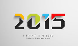 Stylish text for Happy New Year 2015 celebrations.. Happy New Year celebration with stylish text and wishing message on grey background, can be use as poster Stock Photo