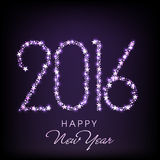 Stylish text for Happy New Year 2016. Shiny stars decorated creative text 2016 on purple background for Happy New Year celebration Royalty Free Illustration