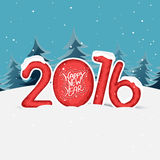 Stylish text for Happy New Year 2016. Stylish text 2016 in snow on fir trees decorated background for Happy New Year celebration Royalty Free Stock Photography