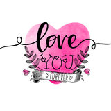 Stylish text with heart for Valentine's Day. Stock Photo
