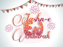 Stylish text for Jashn-E-Eid Mubarak celebration. Stylish text Jashn-E-Eid Mubarak with firecrackers and buntings decoration for Muslim community festival Stock Photography