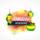 Stylish text with Lamps for Ramadan celebration. Royalty Free Stock Photos