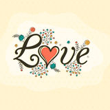 Stylish text Love for Valentine's Day celebration. Royalty Free Stock Image