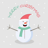 Stylish text of Merry Christmas with snowman. Royalty Free Stock Photos