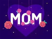 Stylish text Mom with hanging flowers, heart shape on purple bac. Kground Stock Image