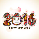 Stylish text 2016 with Monkey for Chinese New Year. Stock Photos