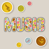 Stylish text of Music with icon. Stock Photo