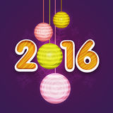 Stylish text for New Year 2016 celebration. Stylish text 2016 with colorful Xmas Balls on Snowflakes decorated purple background for Happy New Year celebration Stock Photo