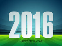 Stylish text 2016 for New Year celebration. 3D text 2016 on glossy stadium background for Happy New Year celebration vector illustration