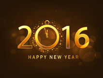 Stylish text 2016 for New Year celebration. Stylish golden text 2016 with clock showing almost Twelve O' Clock on shiny brown background for Happy New Year Stock Photos