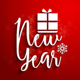 Stylish Text for New Year celebration. Stylish White Text New Year with Gift Box on snowflakes decorated red background stock illustration