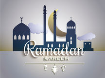 Stylish text Ramadan Kareem on paper tags vector illustration