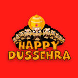 Stylish text with Ravana for Happy Dussehra. Stock Photo