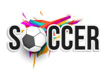 Stylish text Soccer with ball on colorful background. royalty free illustration