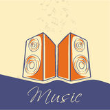 Stylish text with speakers and musical notes. Stock Photography