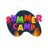Stylish text Summer Camp with tents on night background. Stylish text Summer Camp with tents Stock Photos