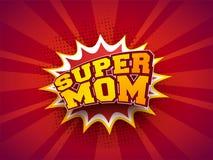 Stylish text Super Mom on pop-art explosion background. Retro co. Ncept vector illustration