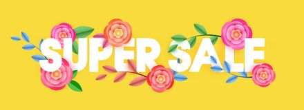 Stylish text Super Sale decorated with beautiful flowers on yell. Ow background. Web banner design Royalty Free Stock Images